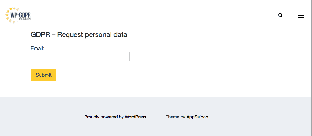 Page to request your personal data