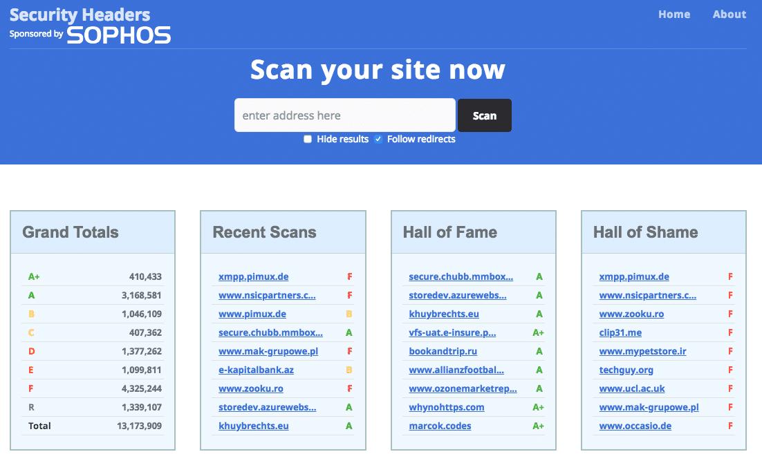 Screenshot Home securityheaders.com